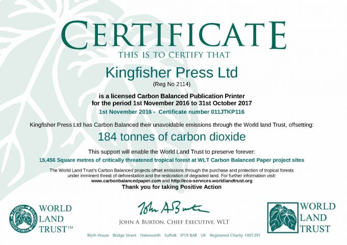 Kingfisher Press saves 14,456 metres of endangered habitat.