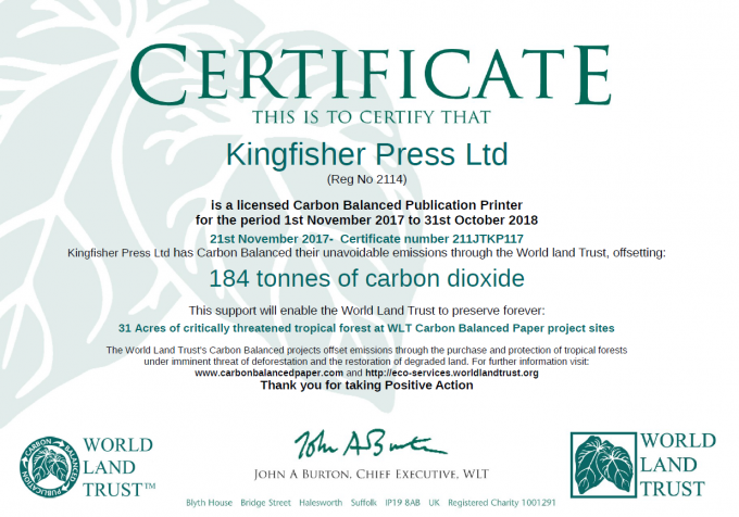 Carbon Balanced Paper – Help reduce Carbon Emissions and support Endangered Species.